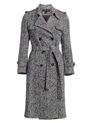 St. John Coats Double-Breasted Herringbone Trench Coat