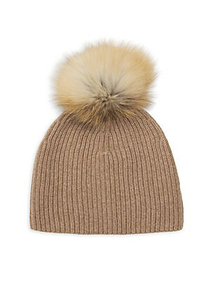 Fox Fur Pom Pom Cashmere Beanie by Lafayette 148 New York