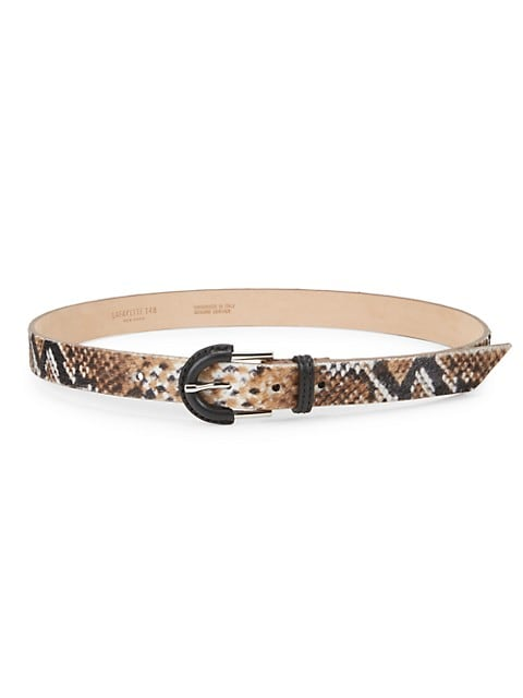 Animal-Print Calf Hair Belt