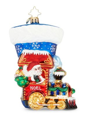 Christopher Radko Noel Express Stocking Glass Ornament
