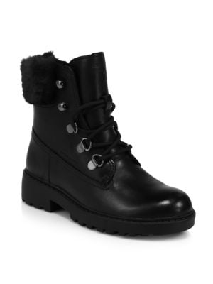 Geox Girl S Casey Faux Fur Trimmed Waterproof Combat Boots