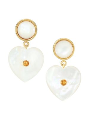 Lizzie Fortunato Forevermore Goldplated Mother Of Pearl Amp Tourmaline Stud Earrings