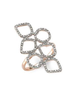 Monica Vinader Riva 18k Rose Goldplated Diamond Pav Mini Cluster Cocktail Ring