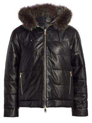 BRUNELLO CUCINELLI Reversible Fox Fur-Trim Quilted Leather Jacket