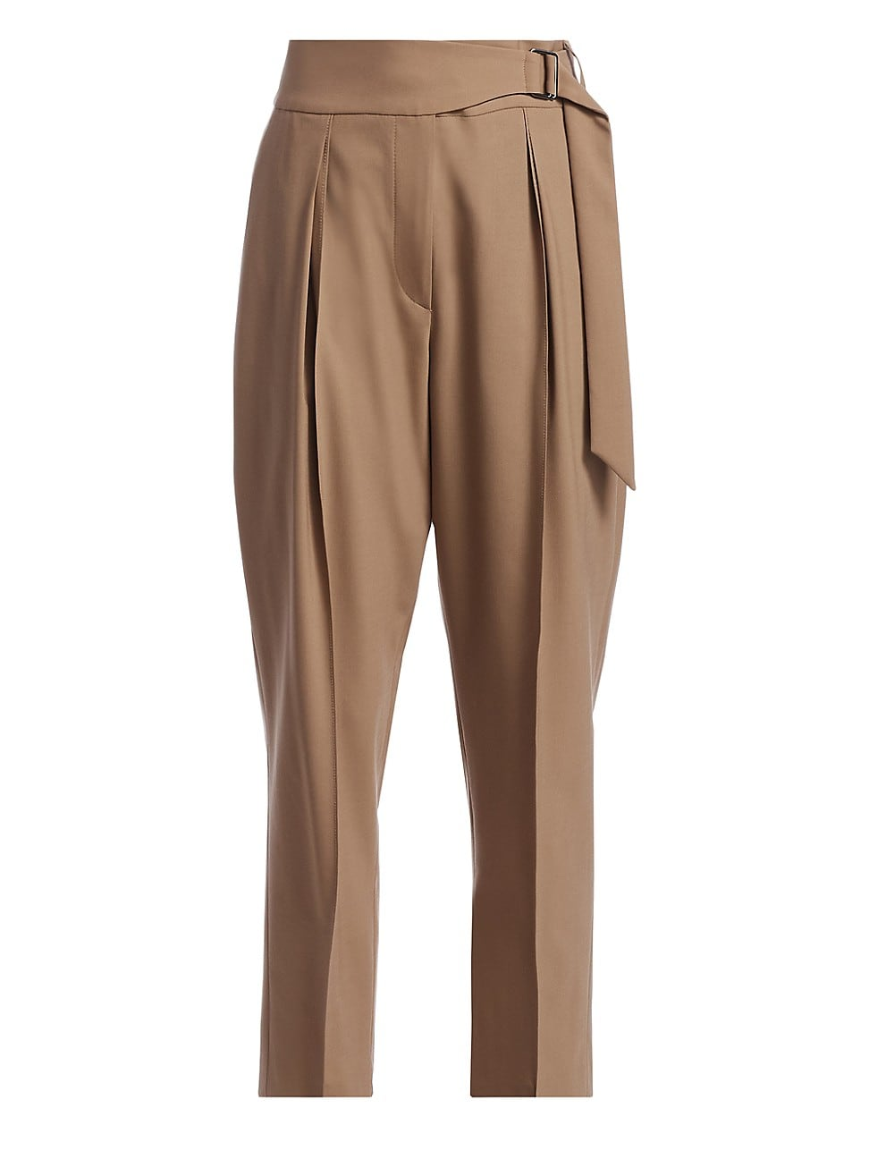 Brunello Cucinelli WOMEN'S STRETCH WOOL FAUX-BELTED TROUSERS