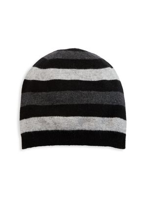 Saks Fifth Avenue Men's Collection Striped Cashmere Beanie In Black Charcoal Grey