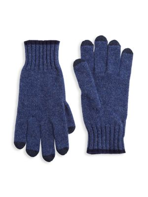 Saks Fifth Avenue Men's Collection Touch Tech Cashmere Gloves In Denim Navy
