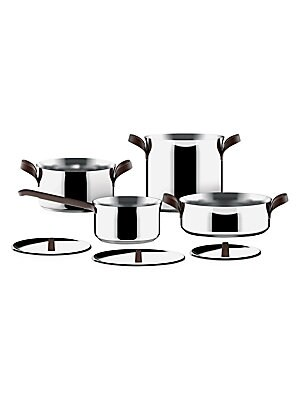 Image of A seven-piece stainless steel set, these cookware essentials are ideal for any occasion. Set includes a stockpot, a two-handle casserole, a two-handle low casserole, a saucepan, a small pot, and three lids Stainless steel/PVD/magnetic steel Hand wash Impo
