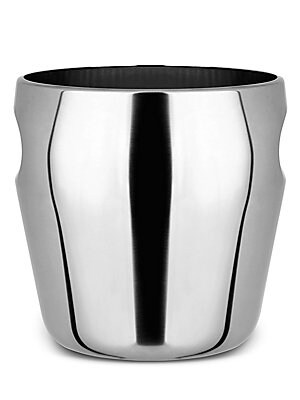 """Image of A glossy homeware essential, this stainless steel wine bucket is both structural and minimalist to cool wine for any occasion. 18/10 stainless steel Hand wash Made in Italy SIZING 7.75""""W x 8""""L. Gifts - Kitchen > Saks Fifth Avenue. Alessi."""