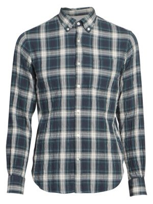Officine Generale Textured Plaid Cotton Shirt