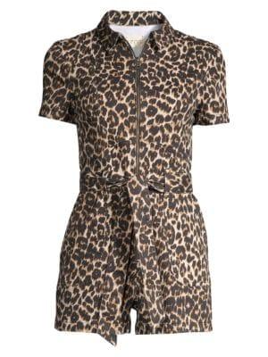 Alice Olivia Jeans Leopard Short Romper