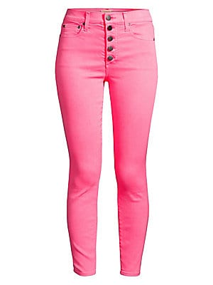 """Image of An arresting hue shades these button fly jeans for an eye-catching look. Belt loops Button fly Five-pocket style Lyocell/cotton/polyester/elastane Machine wash Imported SIZE & FIT High-rise Skinny ankle silhouette Rise, about 10"""" Inseam, about 27"""" Leg ope"""
