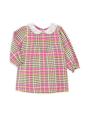 Image of Charming lace collared dress in multicolor plaid crafted in soft cotton. Peter Pan lace collar Long sleeves Elasticized cuffs Back button placket Cotton Machine wash Imported. Children's Wear - Designer Children > Saks Fifth Avenue. Bonpoint. Color: Rose.