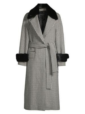 Escada Meton Rabbit Fur Trim Belted Houndstooth Coat