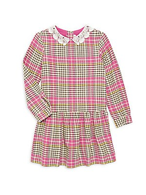 Image of Charming lace collared dress in multicolor plaid flaunts ruffled drop waist. Roundneck with spread lace collar Long sleeves Button cuffs Back button placket Dropped ruffle waist Cotton Machine wash Imported. Children's Wear - Designer Children > Saks Fift
