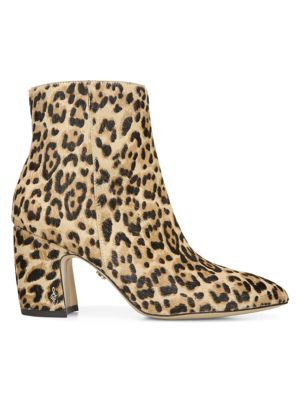 Sam Edelman Hilty Leopard Calf Hair Point Toe Ankle Boots