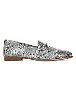 8aee28a50 Sam Edelman. Loraine Snake Print Leather Horsebit Loafers