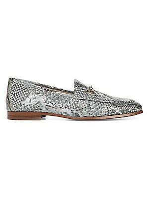 Loraine Snake Print Leather Horsebit Loafers by Sam Edelman