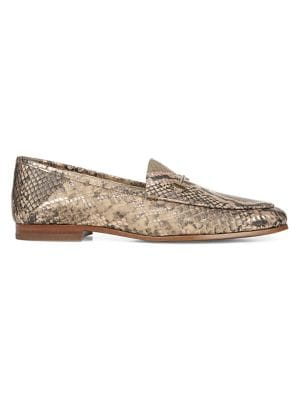 Sam Edelman Loafers Loraine Snake Print Leather Horsebit Loafers