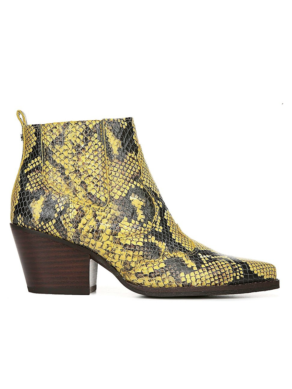 Sam Edelman Women's Winona Western Snakeskin-embossed Leather Ankle Boots In Yellow