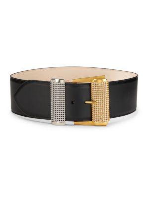 Versace Belts Embellished Bar Leather Belt