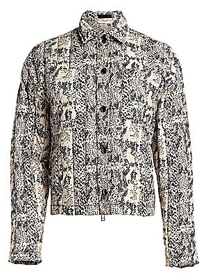 "Image of A channel-quilted shirt jacket revamped with a chic and striking snake print. Point collar Long sleeves Snap-button and zip front Chest patch pockets Side pockets Lined Polyester Dry clean Imported SIZE & FIT About 24"" from shoulder to hem Model shown is"
