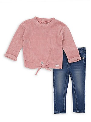 Image of A cozy waffle-knit top is accented with a tie hem and paired with stylish skinny jeans. Machine wash. Imported. TOP Roundneck Long sleeves Rolled cuffs Self-tie hem Polyester JEANS Five pocket styling Zip fly Cropped leg Cotton/spandex. Children's Wear -