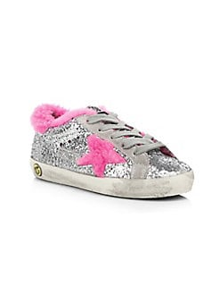 c22d9dddd0 Golden Goose Deluxe Brand - Baby's & Little Girl's Superstar Shearling  Trimmed Sparkle Sneakers