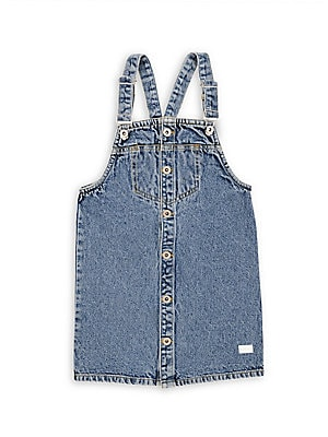 Image of Adorable pinofore dress in classic denim with contrasting stitching. Overall clip straps Button front placket Cotton Machine wash Imported. Children's Wear - Contemporary Children > Saks Fifth Avenue. 7 For All Mankind. Color: Clueless. Size: 4.