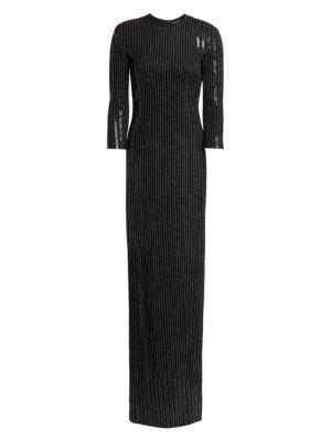 St John Pinstripe Paillette Gown