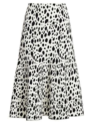 St John Snow Leopard Jacquard Knit Midi Skirt