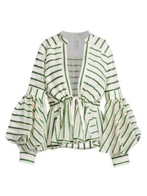 Rosie Assoulin Wool Silk Striped Lantern Sleeve Top