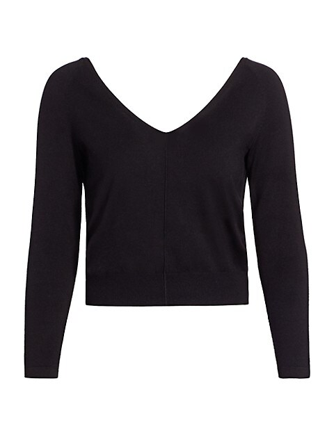 Double V-Neck Silk Knit Sweater