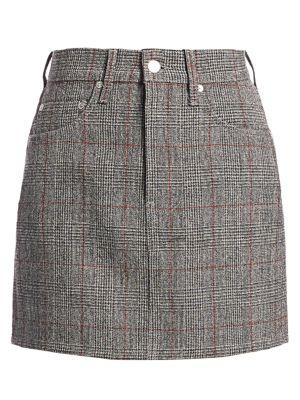 Helmut Lang Femme Hi Plaid Virgin Wool Mini Skirt