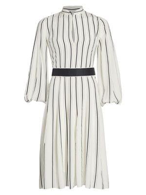 Akris Stripe Long Sleeve Silk Puff Sleeve Midi Shirtdress