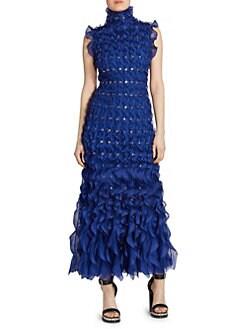 9ddaa21b9e Alexander McQueen. Sleeveless Ruffle Grommet Turtleneck Midi Dress
