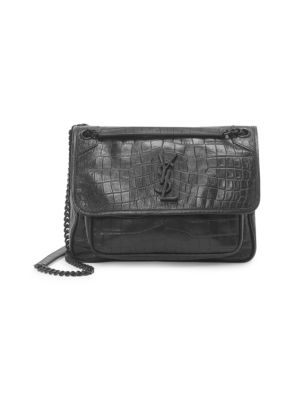 4eb48eb6bc3 Saint Laurent Medium Niki Croc-Embossed Leather Shoulder Bag In Black