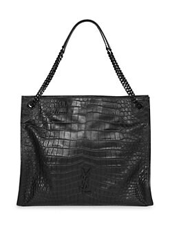 e411bcabde9 Saint Laurent. Niki Croc-Embossed Leather Tote Bag