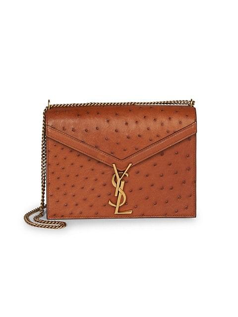 Cassandra Ostrich Leather Shoulder Bag