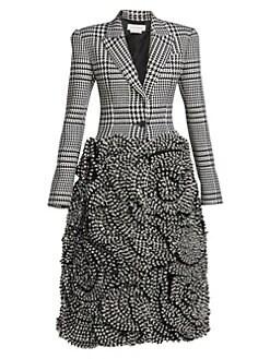 ac8309acd09f Alexander McQueen. Textured Floral Houndstooth Wool Coat
