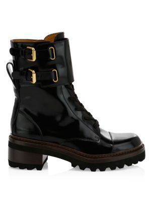 See By ChloÉ Mallory Leather Combat Boots In Nero