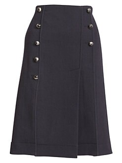bffc88935 QUICK VIEW. Chloé. Pleated Pintuck A-Line Button-Front Skirt