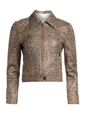Joie Abraham Snake Print Leather Jacket