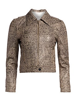 41f27ef9cb4ad Joie. Abraham Snake Print Leather Jacket