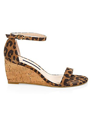 6388a7919a0 Stuart Weitzman - Nearlynude Leopard-Print Leather & Cork Wedges