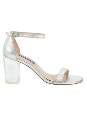 Nearly Nude Transparent Block Heel Leather Sandals