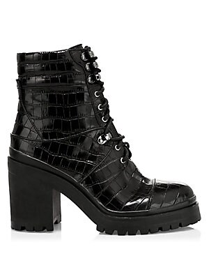 Marren Croc Print Leather Platform Combat Boots by Alice + Olivia
