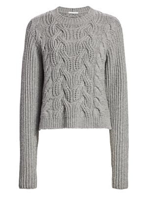Helmut Lang Cable-Knit Lambswool Sweater In Ash