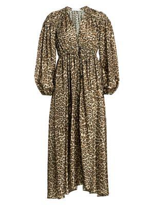 214203bc295824 Zimmermann Suraya Leopard-Print Silk Dress In Khaki Leopard ...