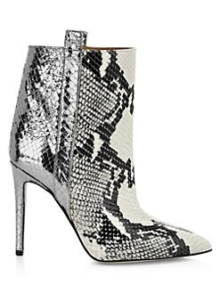 fe0c6311f QUICK VIEW. Paris Texas. Metallic Snakeskin-Print Leather Stiletto Booties